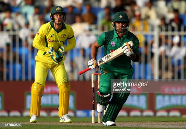 Umar Akmal of Pakistan bats during the first One Day International match between Pakistan and Australia at Sharjah on March 22 2019 in Sharjah United...