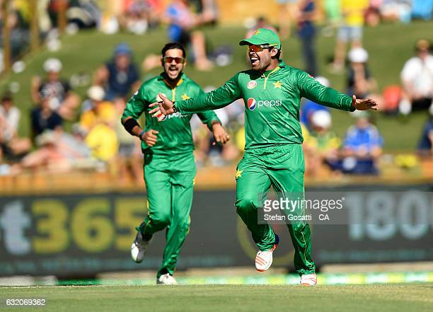 Umar Akmal of Pakistan celebrates during game three of the One Day International series between Australia and Pakistan at WACA on January 19 2017 in...