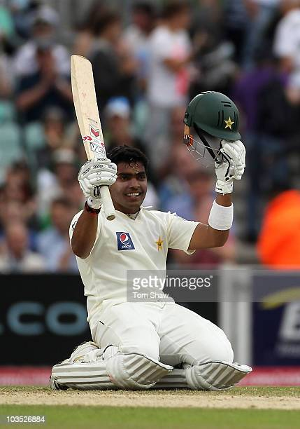 Umar Akmal of Pakistan celebrates victory during day four of the npower 3rd Test Match between England and Pakistan at The Brit Insurance Oval on...