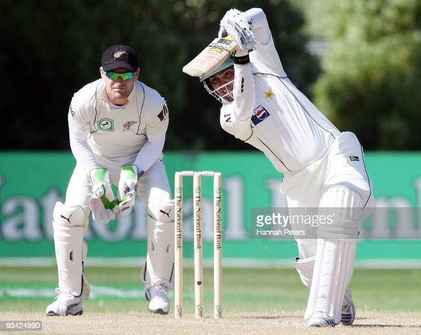 Umar Akmal of Pakistan drives during day three of the First Test match between New Zealand and Pakistan at University Oval on November 26, 2009 in...