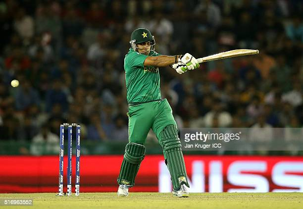 Umar Akmal of Pakistan hits out during the ICC World Twenty20 India 2016 Super 10s Group 2 match between New Zealand and Pakistan at the IS Bindra...