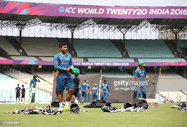 Umar Akmal of Pakistan looks on during a training session at Eden Gardens on March 13 2016 in Kolkata India