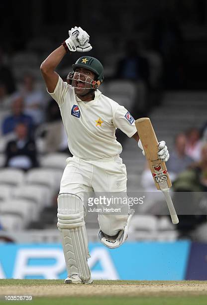 Umar Akmal of Pakistan shows his delight as Pakistan win the 3rd npower Test between England and Pakistan at The Brit Insurance Oval on August 21...