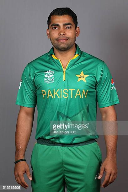 Umar Akmal poses during a Pakistan headshots session on March 14 2016 in Kolkata India