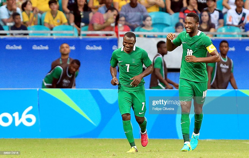 Umar Aminol #7 of Nigeria celebrates is goal during the Men's Football Quarterfinal match at Arena Fonte Nova Stadium on Day 8 of the Rio 2016 Olympic Games on August 13, 2016 in Salvador, Brazil.