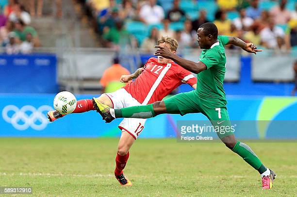 Umar Aminu of Nigeria in action during the Men's Football Quarterfinal match at Arena Fonte Nova Stadium on Day 8 of the Rio 2016 Olympic Games on...