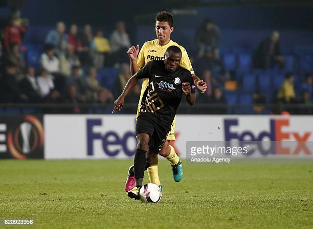 Umar Aminu of Osmanlispor in action during the UEFA Europa League Group L football match between Villarreal and Osmanlispor at El Madrigal Stadium in...