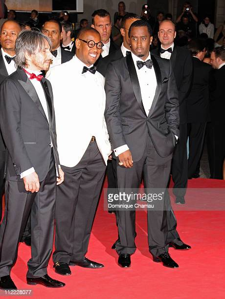 Umar Dzhabrailov music producer Andre Hurrell and Sean Diddy Combs attend the Two Lovers premiere at the Palais des Festivals during the 61st Cannes...