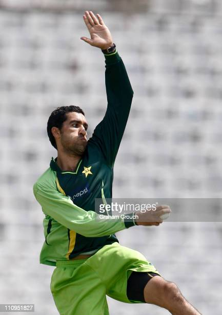 Umar Gul bowls during a Pakistan nets session at the Punjab Cricket Association Stadium on March 28 2011 in Mohali India India will play Pakistan in...