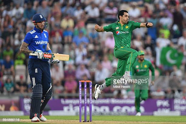 Umar Gul of Pakistan celebrates after dismissing Alex Hales of England during the 1st One Day International between England and Pakistan at the Ageas...