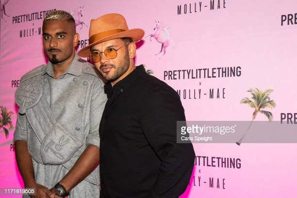 Umar Kamani and Ryan Thomas attend the Pretty Little Thing X MollyMae party at Rosso on September 01 2019 in Manchester England