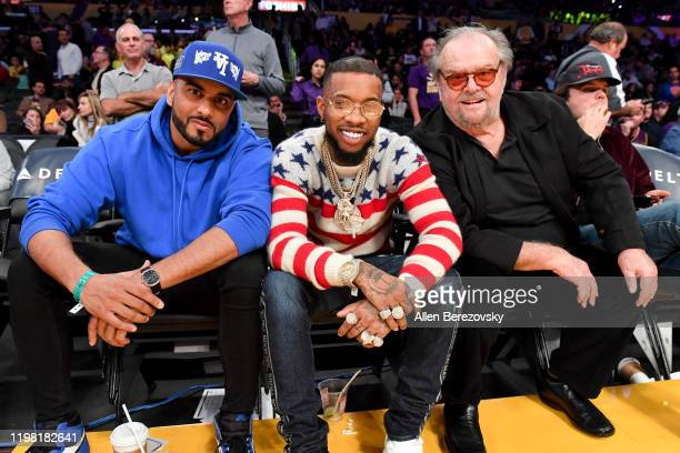 Umar Kamani, Tory Lanez and Jack Nicholson attend a basketball game between the Los Angeles Lakers and the New York Knicks at Staples Center on...
