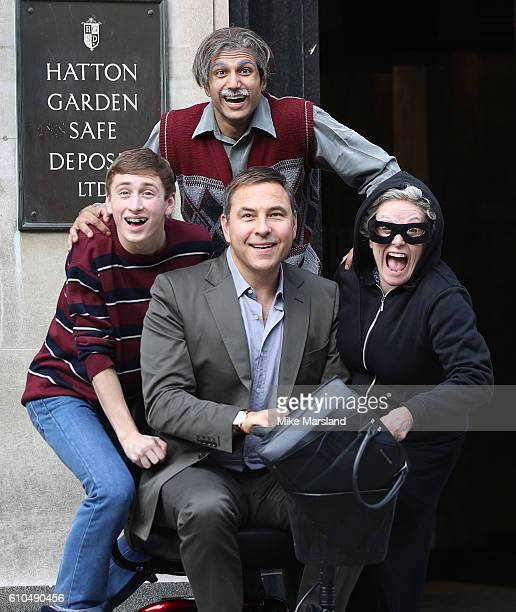 Umar Malik David Walliams Ashley Cousins and Gilly Tompkins attend a Photocall for the stage play of Gangsta Granny in Hatton Gardens on September 26...