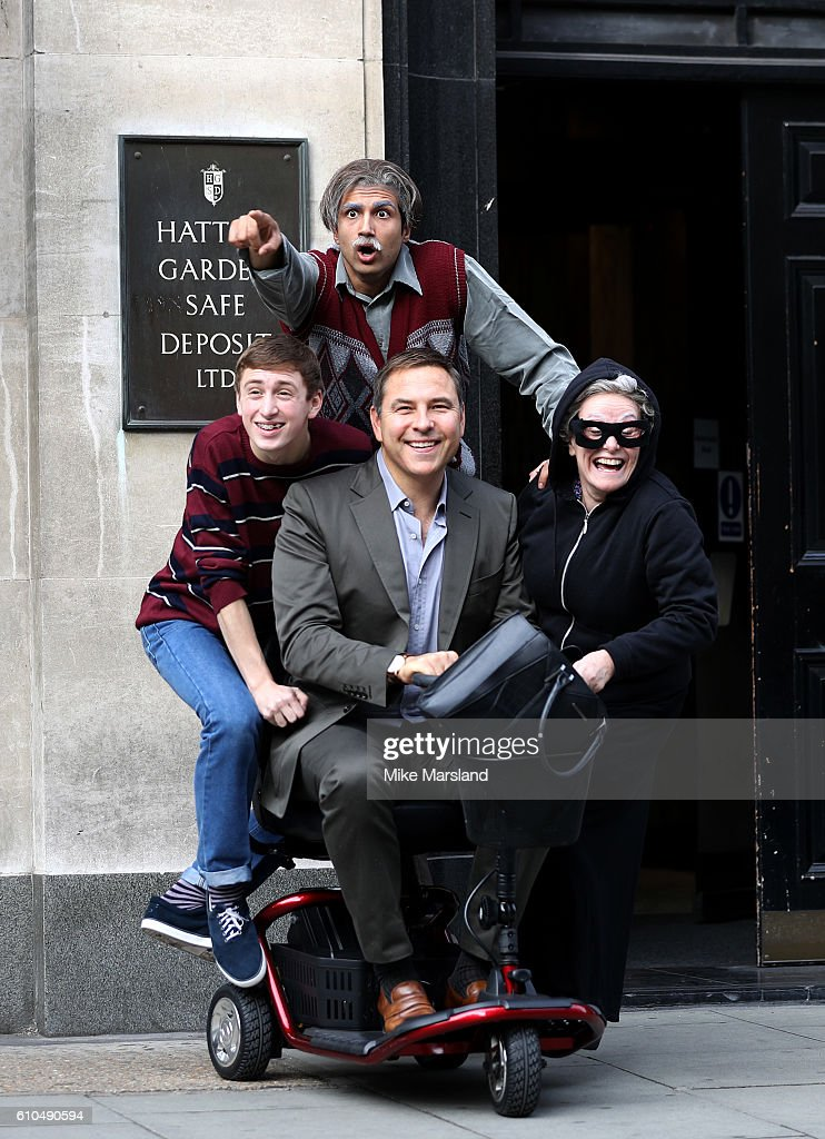 Umar Malik, David Walliams, Ashley Cousins and Gilly Tompkins attend a Photocall for the stage play of Gangsta Granny in Hatton Gardens on September 26, 2016 in London, England.