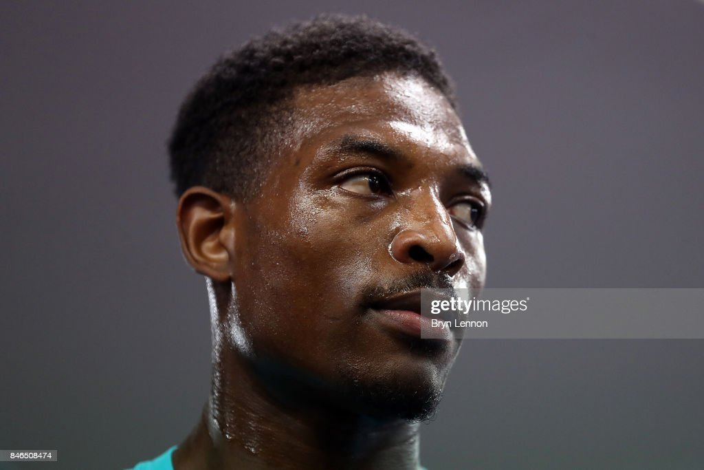 Umar Sadiq looks on during a media work out at the Peacock Gym on September 13, 2017 in London, England.