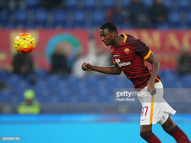 Umar Sadiq of AS Roma scores the team's second goal during the Serie A match between AS Roma and Genoa CFC at Stadio Olimpico on December 20 2015 in...