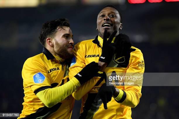 Umar Sadiq of NAC Breda celebrates 61 with Mounir El Allouchi of NAC Breda during the Dutch Eredivisie match between NAC Breda v Heracles Almelo at...