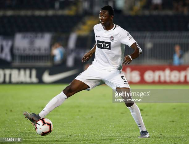 Umar Sadiq of Partizan in action against during the UEFA Europa League Second Qualifying round Second Leg match between Partizan and Connah's Quay on...