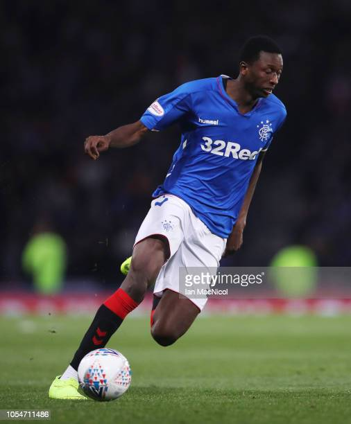 Umar Sadiq of Rangers controls the ball during the Betfred Scottish League Cup Semi Final match between Aberdeen and Rangers at Hapden Park on...