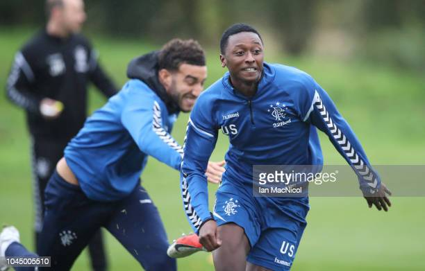 Umar Sadiq of Rangers is seen during a training session ahead of the UEFA Europa League Group G match between Rangers and SK Rapid Wien at Rangers...