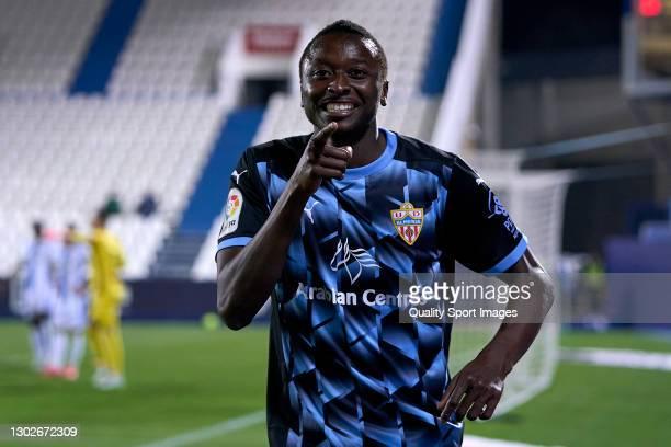 Umar Sadiq of UD Almeria celebrates after scoring his team's second goal prior being canceled during the La Liga Smartbank match between CD Leganes...