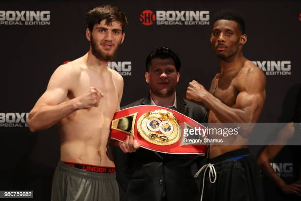Umar Salamov of Russia and Brian Howard pose together after their weighin prior to fighting for the IBF North American Light Heavyweight Championship...