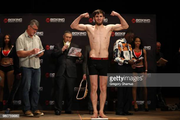 Umar Salamov of Russia makes weight during his official weighin at the Masonic Temple Theater on June 21 2018 in Detroit Michigan Salamov will fight...