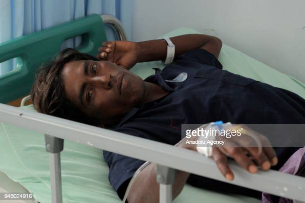 Umar Syarif takes medical treatment at Langsa General Hospital on Saturday April 7 2018 Umar and two other Rohingyans have been dehydrated after...