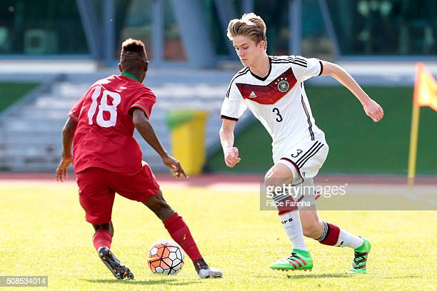 Umaro Embalo of Portugal challenges xxx of Germany during the UEFA Under16 match betweenJan BollerU16 Portugal v U16 Germany on February 4 2016 in...