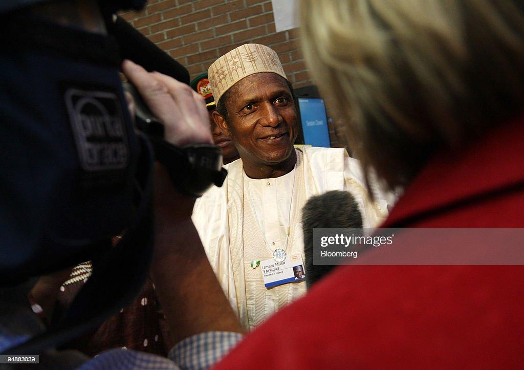 Umaru Musa Yar'Adua, president of Nigeria, is interviewed on : News Photo