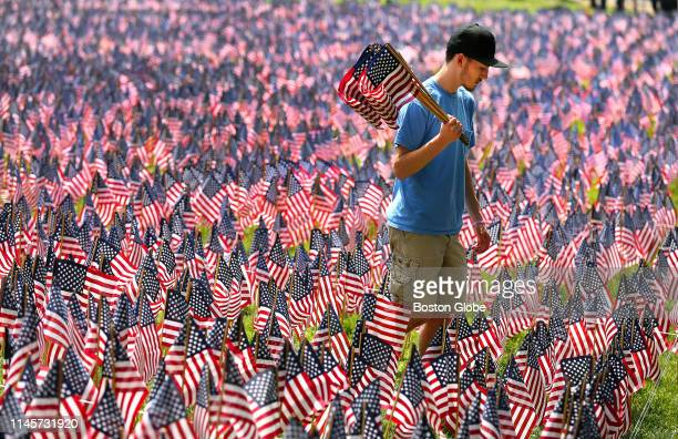 UMass Boston student Dave Connelly of Weymouth carries flags that he was planting as one of hundreds of volunteers working to plant 37,297 American...