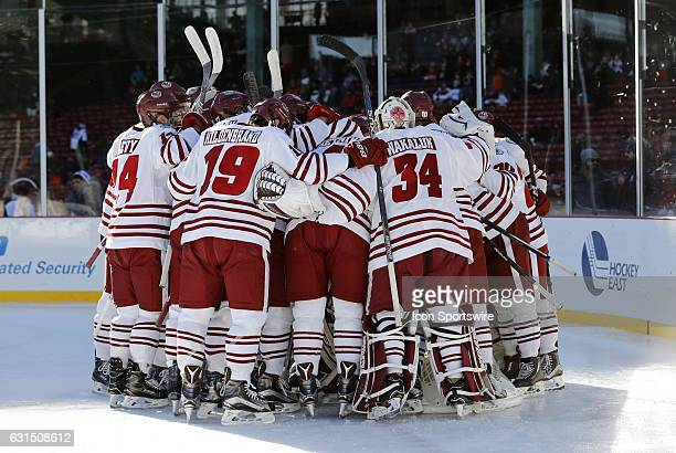 UMass huddles up before a Frozen Fenway NCAA Men's Division 1 hockey game between the Boston University Terriers and the University of Massachusetts...