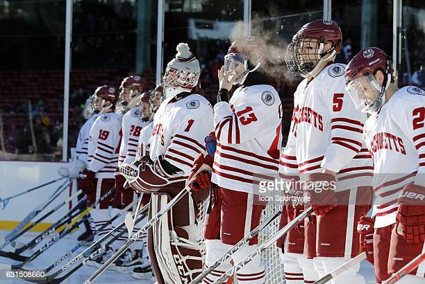 UMass lines up before a Frozen Fenway NCAA Men's Division 1 hockey game between the Boston University Terriers and the University of Massachusetts...