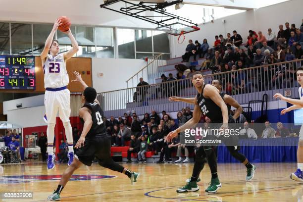 UMass Lowell Riverhawks guard/forward Logan Primerano shoots a wideopen 3pointer during the second half of the game between the Binghamton University...