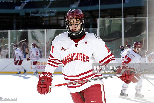 UMass Minutemen forward Griff Jeszka skates during warm up before a Frozen Fenway NCAA Men's Division 1 hockey game between the Boston University...