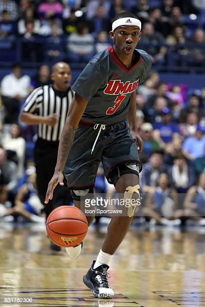 UMass Minutemen guard Dejon Jarreau fast breaks during the first half of an NCAA basketball game between UMass Minutemen and Rhode Island Rams on...