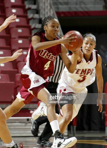 UMass's Brooke Cambell grabs one of her 7 rebounds during a Temple Owls 59 to 43 victory over the University of Massachusetts Minutewomen at the...