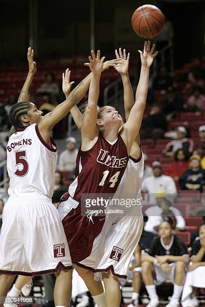 UMass's Pam Rosanio breaks through the Temple defense during a Temple Owls 59 to 43 victory over the University of Massachusetts Minutewomen at the...
