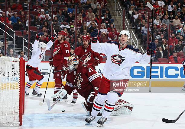J Umberger of the Columbus Blue Jackets celebrates after scoring a third period power play goal past goaltender Mike Smith of the Phoenix Coyotes...