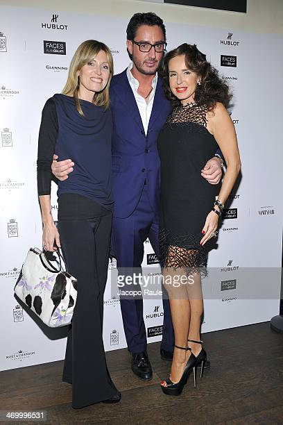 Umberta Beretta Lorenzo Tonetti and Gabriella Dompe attend 'The Faces' Opening Exhibition on February 17 2014 in Milan Italy