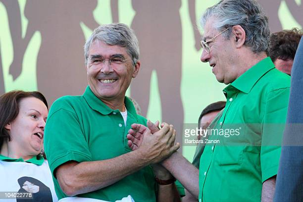 Umberto Bossi and Roberto Castelli of the Northern League Party attend the Lega Nord Annual Party Rally on September 12, 2010 in Venice, Italy. The...
