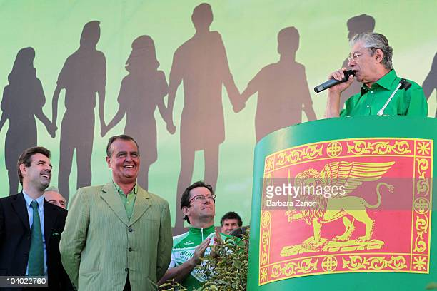 Umberto Bossi , Roberto Calderoli and Roberto Cota of the Northern League Party attend the Lega Nord Annual Party Rally on September 12, 2010 in...
