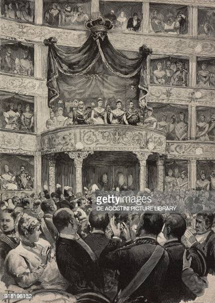 Umberto I and Margherita of Savoy accompanied by the sovereigns of Germany at Teatro Argentina on the occasion of the silver wedding celebrations...