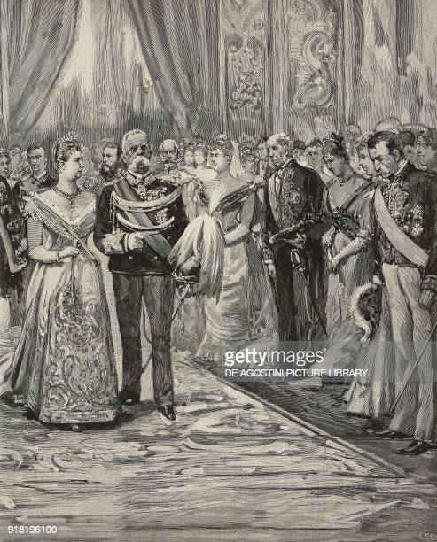 Umberto I and Margherita of Savoy at the concert on the occasion of their silver wedding Palazzo del Quirinale Rome Italy engraving after a drawing...