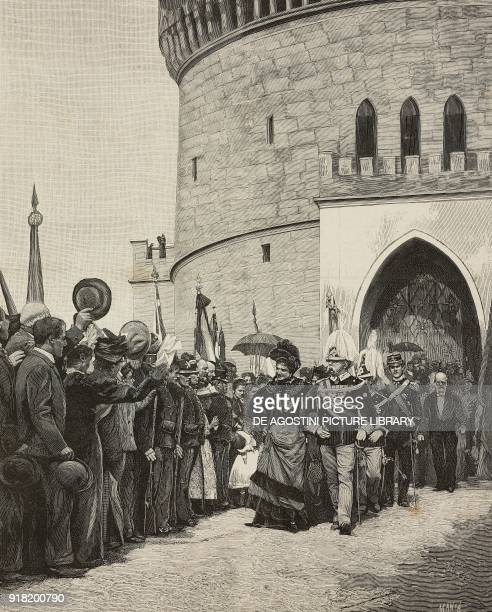 Umberto I and Margherita of Savoy at the inauguration of the monumental tower of San Martino della Battaglia October 15 Italy engraving by Ernesto...