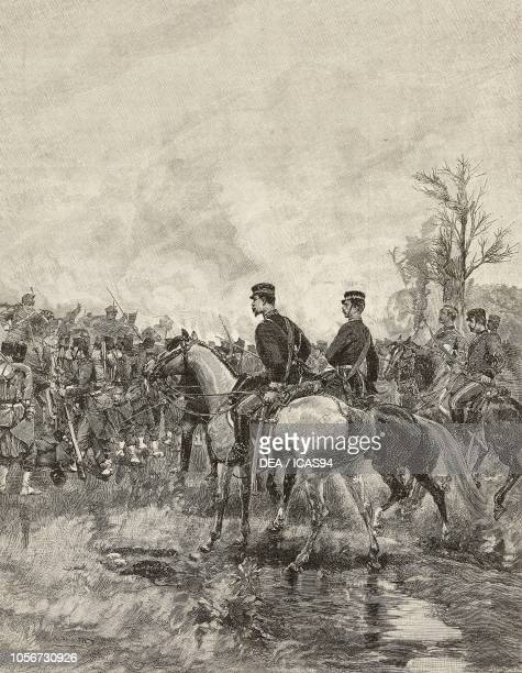 Umberto I King of Italy at Villafranca where the infantry division formed in square Italia Battle of Custoza Third Italian War of Independence...