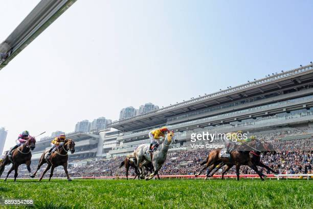 Umberto Rispoli riding Southern Legend wins Race 3 during Longines Hong Kong International Race Day at Sha Tin Racecourse on December 10 2017 in Hong...