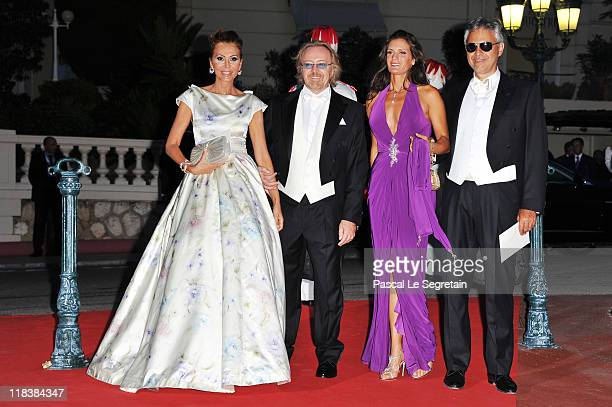 Umberto Tozzi and his wife with Andrea Bocelli and wife Veronica Berti attend a dinner at Opera terraces after their religious wedding ceremony on...