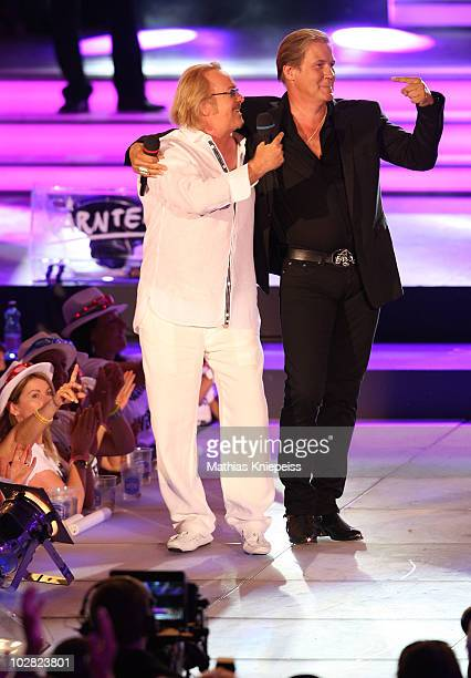 Umberto Tozzi and Johnny Logan perform during the Starnacht am Woerthersee on July 10 2010 in Poertschach Austria