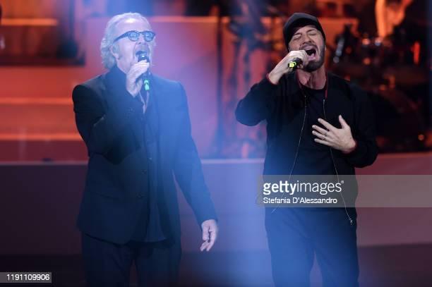 "Umberto Tozzi and Raf attend the ""20 anni che siamo italiani"" tv show on November 27, 2019 in Milan, Italy."